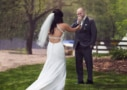 first look at the bride at a central maine wedding
