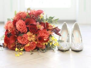 Wedding flowers and wedding shoes